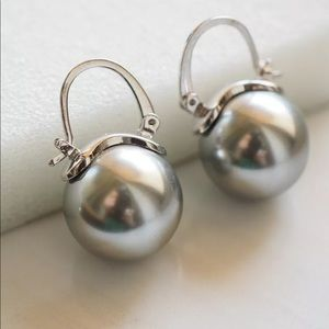 Kate Spade Signed Silver Pearl Earrings